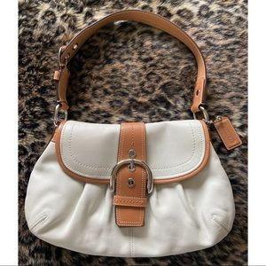 Coach Soho White Leather Flap Shoulder Bag